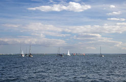 Leigh 8月13日2017年在海,艾塞克斯,英国的,享受在出海口的水上运动 免版税库存图片
