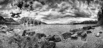 Leigh Lake Panorama Stock Afbeelding