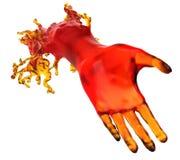Leihen einer Handreichung: rote flüssige Form Stockfoto