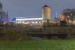 Leine flod på Hannover den gamla staden Royaltyfria Bilder