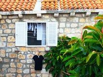 Leinenfenster Stockfotografie