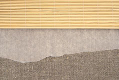 Leinengewebesushimatte Leinenhintergrundpergament Stockbild