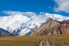 Leinin peak, view from Base camp 1, Pamir mountains. Kyrgyzstan Royalty Free Stock Photo