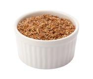 Leinsamen-Mahlzeit im Ramekin Stockbild