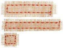 Leinwand-Gewebe-Flecken-Aufkleber, Sackleinen-Band des Leinenjutefasers, Sack-Stoff-Tag, Weiß lokalisiert Stockbild