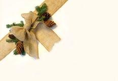 Leinwand-Weihnachtsbogen und Kiefern-Kegel-Rahmen auf weißem Hintergrund Stockfoto