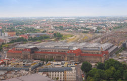 Leipzig aerial view. Aerial view of the city of Leipzig in Germany with the Hauptbahnhof central station Royalty Free Stock Photography