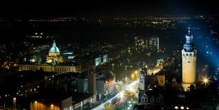 Leipzig bij nacht royalty-vrije stock afbeelding