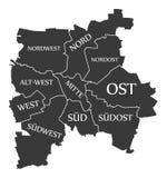 Leipzig city map Germany DE labelled black illustration. Leipzig city map Germany DE labelled black Stock Image