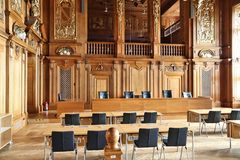 Leipzig court room. LEIPZIG, GERMANY - MAY 9, 2018: Timber clad court room of Federal Administrative Court (Bundesverwaltungsgericht) in Leipzig, Germany. It is stock photos
