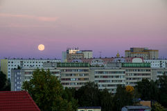 Leipzig at dawn. With rising moon Royalty Free Stock Images