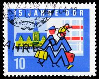 Leipzig exhibition, Old Town Hall, 15 years of DDR serie, circa 1964. MOSCOW, RUSSIA - FEBRUARY 21, 2019: A stamp printed in Germany, Democratic Republic shows stock photos