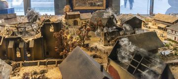 The Battle of Leipzig or Battle of the Nations, 1813. Leipzig, Germany - December 2018: Miniature of the Battle of Leipzig or Battle of the Nations inside the stock photos