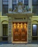 Leipzig, Germany, illuminated vintage door Stock Image