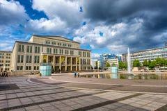 LEIPZIG, GERMANY - JULY 17, 2016: Tourists visit Augustusplatz. Royalty Free Stock Photo