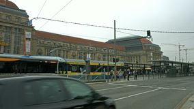 Leipzig, Germany, main station. Establishing shot of the main station in Leipzig, Germany, including the very busy four lane tram station in front of the main stock video