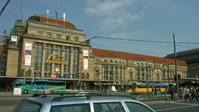 Leipzig, Germany, main station. Establishing shot of the main station in Leipzig, Germany, including the very busy four lane tram station in front of the main stock footage