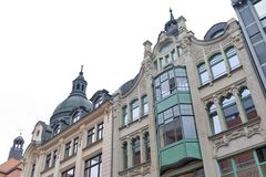 Old style buildings in central business district and city square near Augustusplatz in downtown Leipzig, Germany. Leipzig, Germany - October 2018: Old style royalty free stock photo