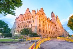 Leipzig Neues Rathaus at sunset. New Town Hall Royalty Free Stock Images