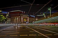 Leipzig nocą główny dworzec fotografia stock
