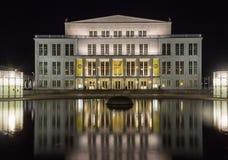 Leipzig opera i natten Royaltyfri Foto
