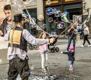 Leipzig, Saxony, Germany - October 21 2017: Street artists earn Royalty Free Stock Photography