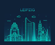 Leipzig skyline vector illustration linear style Royalty Free Stock Photo