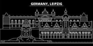 Leipzig sylwetki linia horyzontu Niemcy, Leipzig wektorowy miasto -, niemiecka liniowa architektura, budynki Leipzig podróż ilustracji