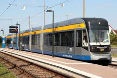 Leipzig tram at holding point Sommerfeld. With its 13 lines, route length of 148.3 km and 510 tram stops, the network is currently the second biggest in Germany royalty free stock photo