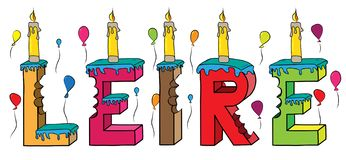 Leire female first name bitten colorful 3d lettering birthday cake with candles and balloons.  vector illustration
