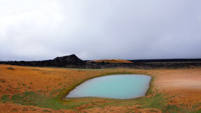 Leirhnjúkur Lava Fields and geothermal pool in Krafla area Stock Image