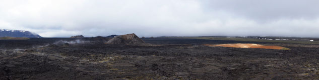 Leirhnjúkur Lava Fields panorama in Krafla area Stock Images