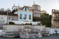 Leiria, Portugal. The Fonte das 3 bicas, also called the Fonte das Carrancas or the Chafariz Grande, an emblematic fountain in the old town of Leiria Royalty Free Stock Photography