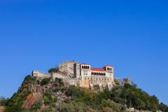 Leiria, Portugal. Medieval Leiria Castle built on top of a hill. With a view over the Gothic Palatial Residence or Pacos Novos. A Templar Knights Castle royalty free stock photos