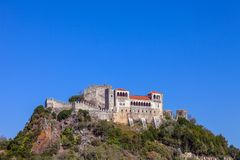 Leiria, Portugal. Medieval Leiria Castle built on top of a hill. With a view over the Gothic Palatial Residence or Pacos Novos. A Templar Knights Castle royalty free stock image