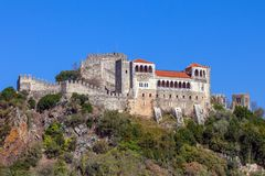 Leiria, Portugal. Medieval Leiria Castle built on top of a hill. With a view over the Gothic Palatial Residence or Pacos Novos. A Templar Knights Castle royalty free stock photo
