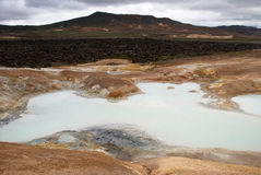 Leirknjukur crater. Sulfur encrusted Leirknjukur crater and its solfatars Stock Images