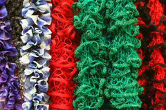 Leis or Boas. A colorful assortment of what could be used as leis or boas stock images