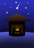 Leise Nacht des Geburt Christis Stockfotografie