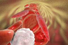 Leishmania parasite in blood. Promastigotes of Leishmania parasite which cause leishmaniasis in blood with red blood cells and leukocytes, 3D illustration Royalty Free Stock Photography