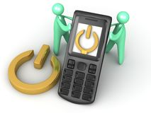 Leistung auf Mobiltelefon Stockfoto