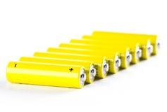 Leistung-Batterien auf Weiß Lizenzfreie Stockfotos