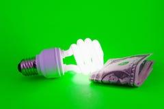 Leistung-Einsparung Glühlampe auf grünem Hintergrund Stockfoto