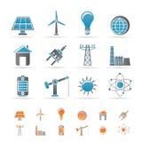 Leistung-, Energie- und Elektrizitätsikonen Stockbilder