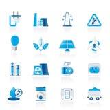 Leistung-, Energie- und Elektrizitätsikonen Stockbild
