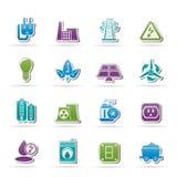 Leistung-, Energie- und Elektrizitätsikonen Stockfoto