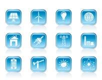 Leistung-, Energie- und Elektrizitätsikonen Lizenzfreie Stockbilder