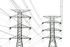 Leistung-Kontrollturm und Stromleitungen Lizenzfreies Stockbild