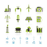 Leistung- und Elektrizitätsindustrieikonen Stockbilder