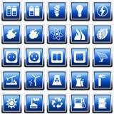 Leistung- und Energieikonenset Stockfotos